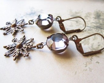 Lavender Snowflake Earrings / Vintage Assemblage Jewelry / Boho Chic / Mori Girl