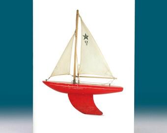 Pond Yacht Greeting Card Vintage Star Yacht 1960s