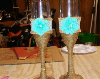 Twine and Ribbon wrapped Champagne glasses