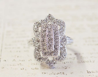 Vintage Ring 18k White Gold Electroplated Ring with Clear Swarovski Crystals Made in USA #R1415