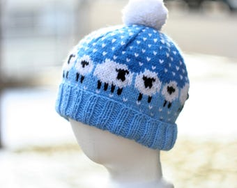 Blue and White Hand Knit Sheep Hat with Pom Pom