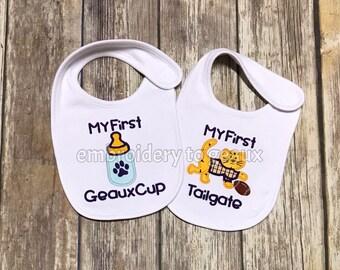 Football Baby Gifts, First Football Season Bib, Tiger Bib, Tiger Baby Bib, Purple and Gold Football Baby Gifts, Purple and Gold Baby Gifts