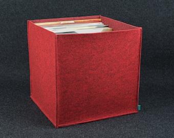 Vinyl storage, record storage, felt storage box, storage bin, storage basket, felt bin, Gopher