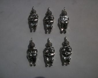 6 Venus of Willendorf Fertility Goddess Metal Pendants Charms