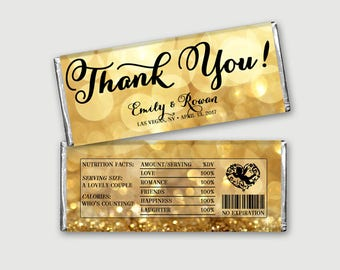 Thank You! Customized Candy Bar Wrapper, Regular Chocolate Label - More Occassion - Sparkle Gold Bokeh - DIY Print, Printable PDF