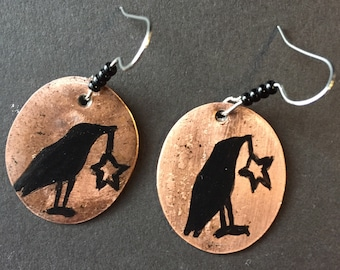 Primitive Crow Earrings