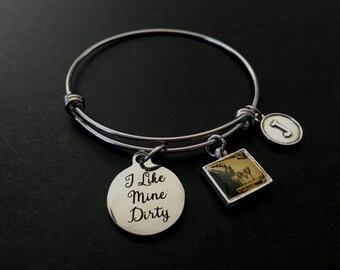 I Like Mine Dirty (Martini) Adjustable Stainless Steel Bangle Bracelet with Retro Martinis Tile and Initial Charm