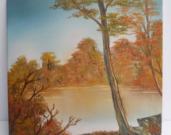 Bob Ross Style Oil Painting Landscape Scenery Wilderness Lake Autumn Fall Trees Orange Warm 12 X Stretched Canvas