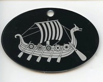 Laser Cut & Etched Norse Viking Ship Ornament #EL30