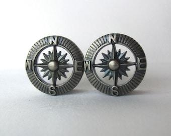"Pair of Silver Steampunk Compass Tunnels - Steam Punk Gauges - Travel Plugs - Handmade - 3/4"", 7/8"", 1"" (19mm, 22mm, 25mm)"