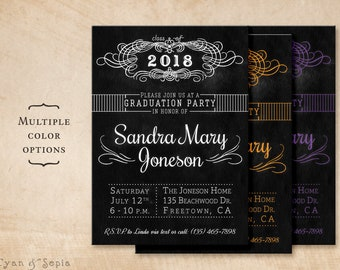 Chalkboard Graduation Party Invitation - Printable DIY Postcard 4.25x5.5 4x6 5x7 - Black White or School Colors - Teen Grad Graduate Chalk