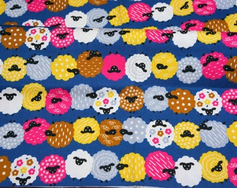 Colorful Sheep print Half  yard 46  cm by 106 cm or 18 by 42 inches nc44 LAST PIECE