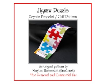 Peyote Bracelet Pattern ... JIGSAW PUZZLE ... Colorful . Autism Awareness . Wide . Multicolor . Bright . Beadweaving . PDF . 3 for 2