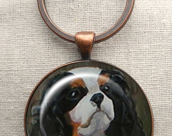 King Charles Spaniel Keychain ~ Original Art ~ Mothers Day Gift ~ Mini Painting ~ Gifts for Her ~ Cavi Portrait ~ Spaniel Keychain