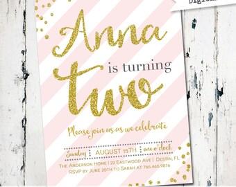 first birthday invitation, girls birthday invitation, pink and gold birthday invite, stripes, glitter, confetti, cottage chic invite (JPD308