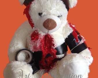Taped himself up - Gore Bear, one-off, horror teddy, bloody, gory, scary,