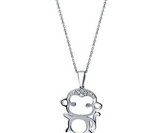 Sterling Silver Monkey Pendant Necklace