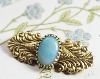 Victorian barrette filigree brass amazonite aqua blue vintage antique style