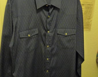 Gently Worn Roper Men's western shirt Cotton Poly Blend Pearl snaps