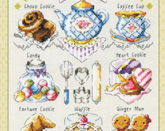Cross stitch patterns and kits - mini cookie time by Sodastitch, afternoon tea, teapot, gingerbread man, waffle, dessert motifs