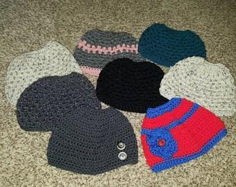 Crochet Ponytail hat!  Crochet Messy Bun Hat!  Any size!