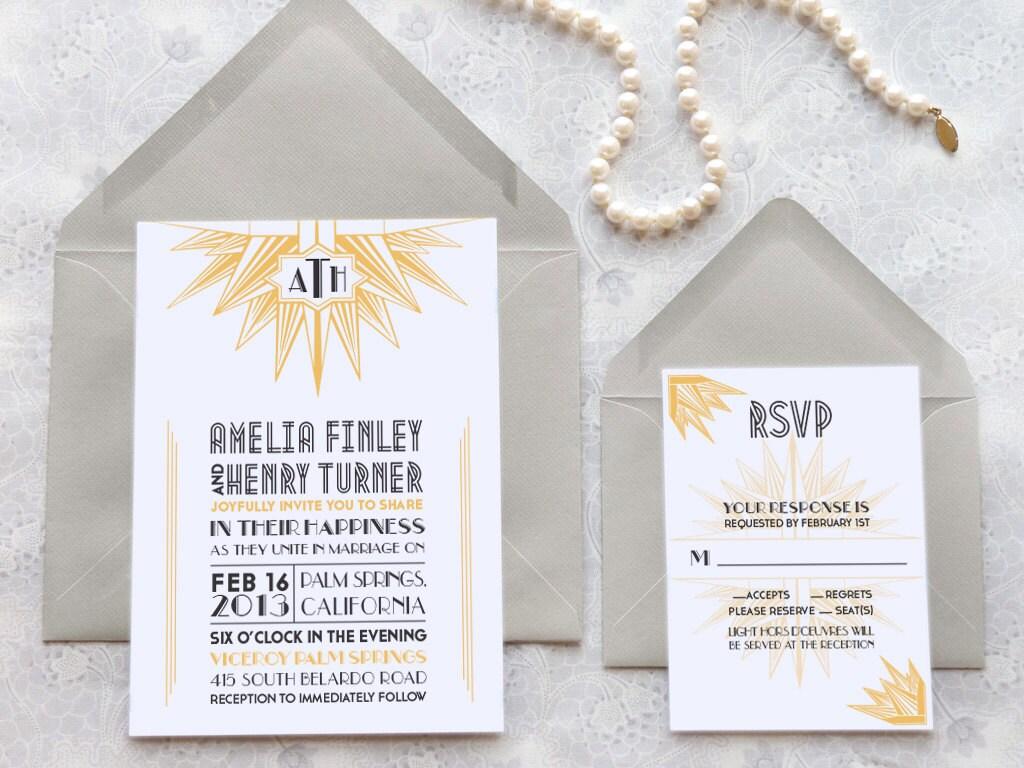 Deco Blanc Starburst Art Deco Printable Wedding Invitations