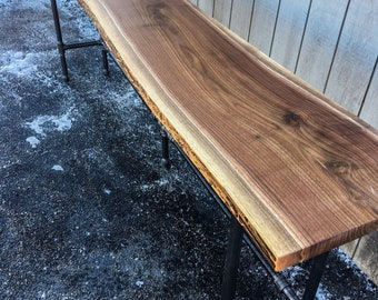 Live Edge Foundry Table Living Edge Reclaimed Bar Table Living Edge Hardwood Solid Black Walnut Cherry Bar Table Pub Table Sofa Table