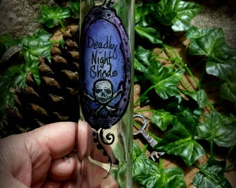 Bottle Tall Halloween Decoration Deadly Nightshade Poison Bottle Ooak