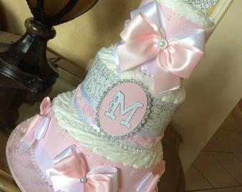 Princess baby shower centerpiece/Princess diaper cake/Light pink and silver princess baby shower centerpiece/Light pink diañer cake