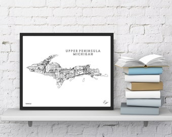 Michigan Upper Peninsula Wall Art | Map Print | Souvenir Gift