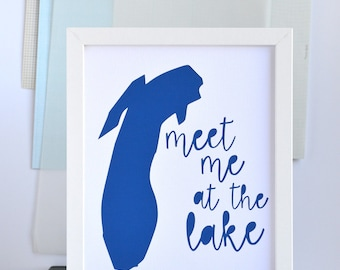 SALE Meet Me At Lake Art, Lake House Decor, Lake Art, Beach House Decor, Nautical, Great Lakes Decor