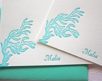 Personalized Stationery Finger Coral Letterpress Aqua Blue