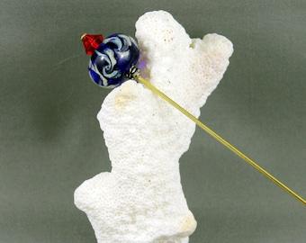 hat pin, lampwork hat pin, lampwork shawl pin, glass bead scarf pin, glass bead hat pin, beaded hat stick, beaded shawl pin, sra lampwork