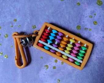 Vintage Bell charm orange Abacus counting - Charm Bracelet - Necklace - Retro Keychain clip - Zipper Pull - Kitsch Kawaii Mini 80s