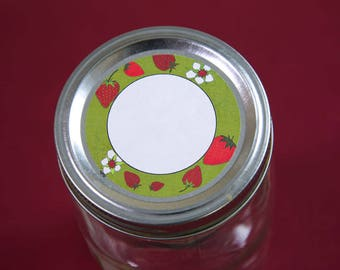 "Jam Label Strawberry Jam Loose Tea Food Label, Canning Label Mason Jar Label Jar Lid Label 2.5"" Round Label Circle Organizing Label -CL297"
