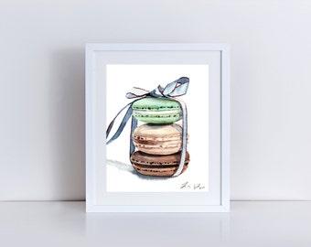 Laduree Macarons Print Paris Painting Macaron Art Cute Bow Print Champs Elysses Painting Paris Watercolor Cute Art Print Pretty Art Print