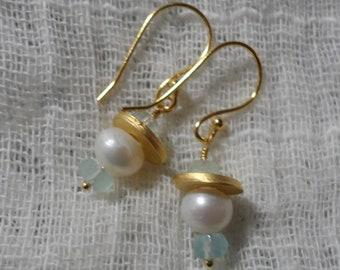 Aquamarine and Pearl Earrings