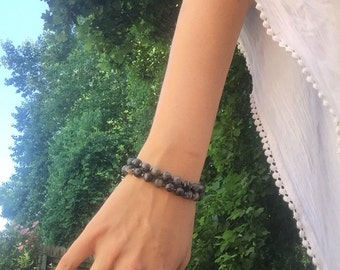 "7"" boho black matte beaded bracelet with toggle closure"