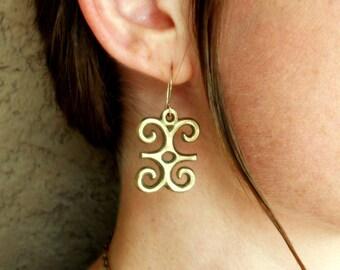 Brass-Dwennimmen-Adinkra-Ram's Horns-Earrings / Free US Shipping
