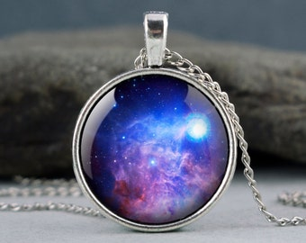Galaxy blue necklace, blue nebula pendant, space necklace, universe jewelry p30