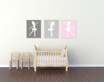 Baby Girl Nursery Art Print, Ballerina Nursery Wall Art Prints, Gray Pink Nursery Art, Bedroom Decor H169