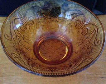 Sale Vintage 1970s Yellow Amber Tiara Patterned Glassware/ Collectible Sandwich Pressed Glass Bowl