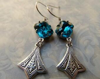 Art Nouveau Earrings Silver Art Deco Gothic Teal Blue Miss Fisher 1920s Dangle Earrings- Twisted
