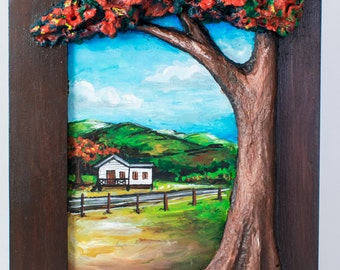 Puerto Rican Landscape with Recycled Paper flamboyant tree