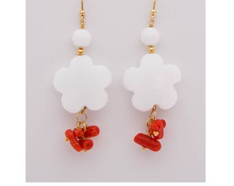 Women's earrings in silver 925 with semiprecious stones-coral, agate