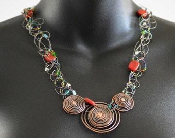 Copper rivet coil necklace