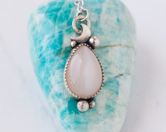 Cancer Moonstone OOAK Necklace in Sterling Silver