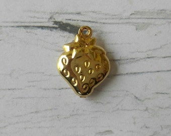 14K Gold Filled Double Sided Strawberry Charm