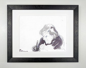 Woman painting, in gray and black - Original Framed Watercolor
