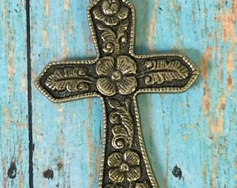 Cross Bronze Antiqued Gold Ornate Floral Pewter Pendant